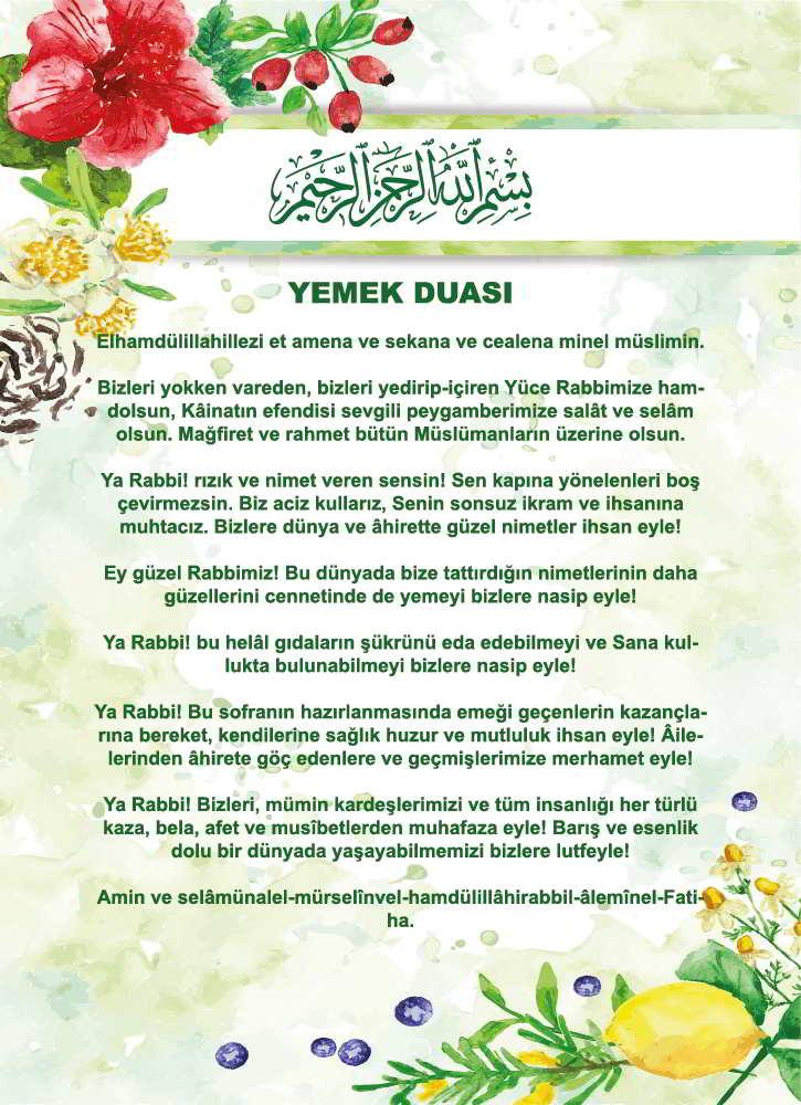 Türkçe Diyanet Yemek Duası