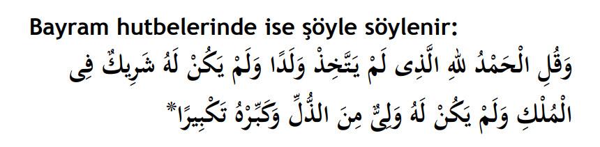 bayram hutbesinden sonra okunan isra 111. ayet