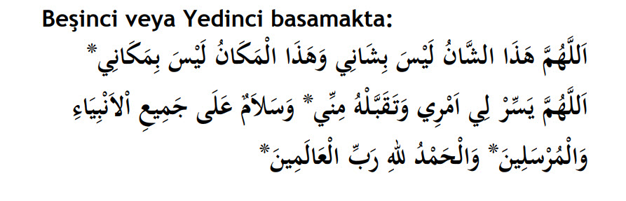 minberin beşinci ve yedinci basamağında okunacak dualar.